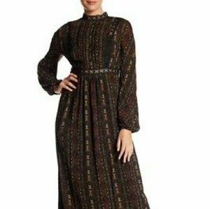 Max Studio Victorian Print Long Sleeve Maxi Dress